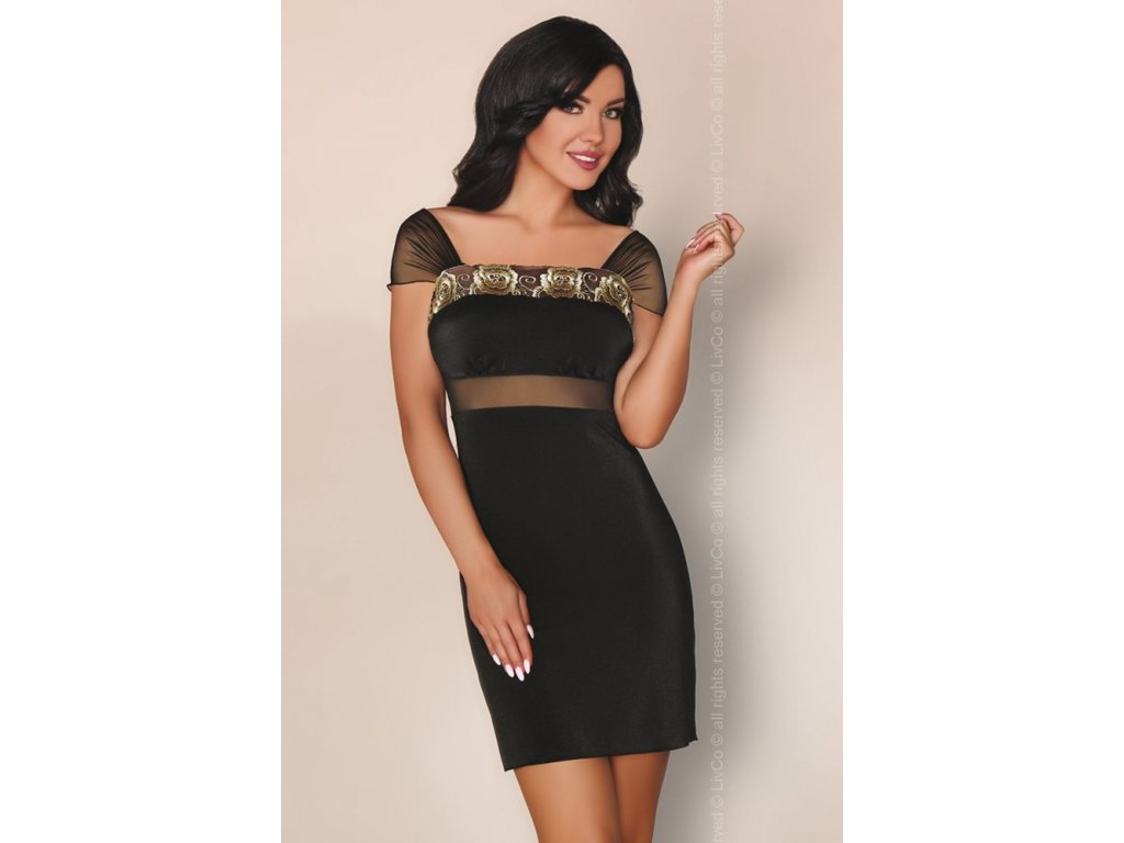 # Luxusní košilka Amoria - LivCo Corsetti (Barva Černá, Velikost L/XL)
