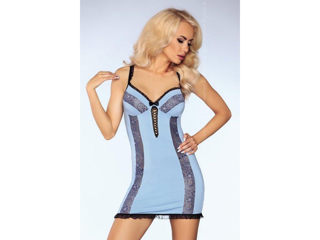 # Rafinovaná košilka Sofya - LivCo Corsetti (Barva Modrá, Velikost L/XL)
