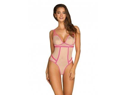 # Elegantní body Nudelia teddy neon pink - Obsessive