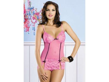 # Košilka Bloom chemise - Obsessive (Barva růžová, Velikost L/XL)