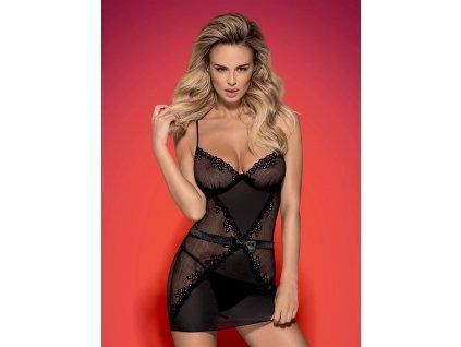 # Košilka Lustella chemise - Obsessive (Barva Černá, Velikost L/XL)