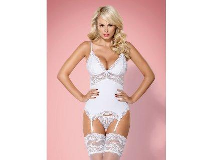 # Korzet 810-COR white corset - Obsessive (Barva Bílá, Velikost S/M)