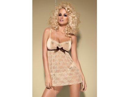 # Košilka Caramella babydoll - Obsessive (Barva béžová, Velikost L/XL)