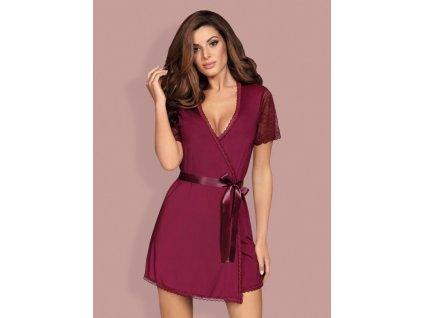 # Smyslný župan Miamor robe bordó - Obsessive (Barva bordó, Velikost L/XL)