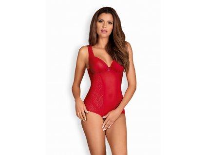 # Kořeněné body Rougebelle teddy - Obsessive (Barva Červená, Velikost L/XL)