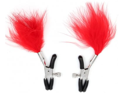 ™˙ AW Skřipce na bradavky s peříčky červené