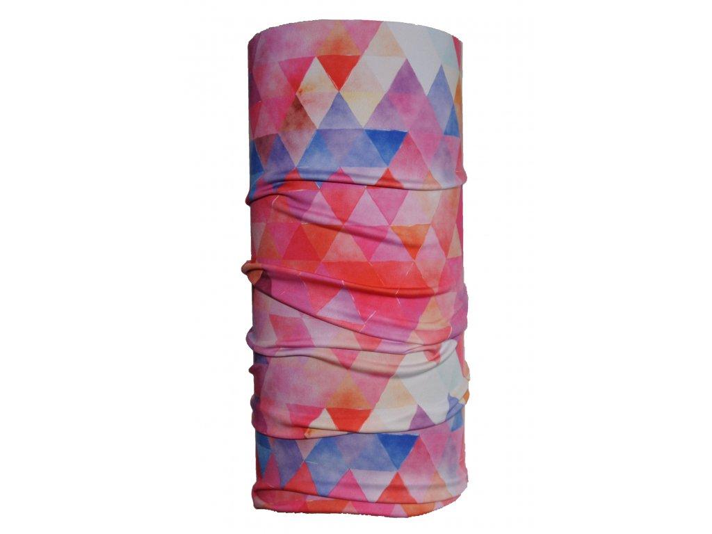 nákrčník trojúhleníky růžová