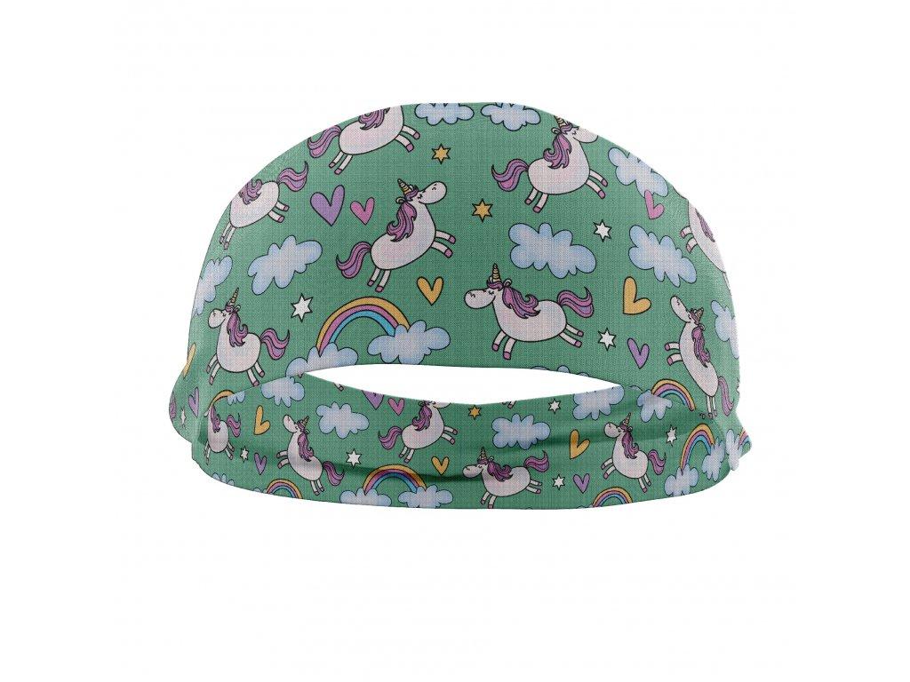 bavlněná čelenka anywhere jednorožci zelená