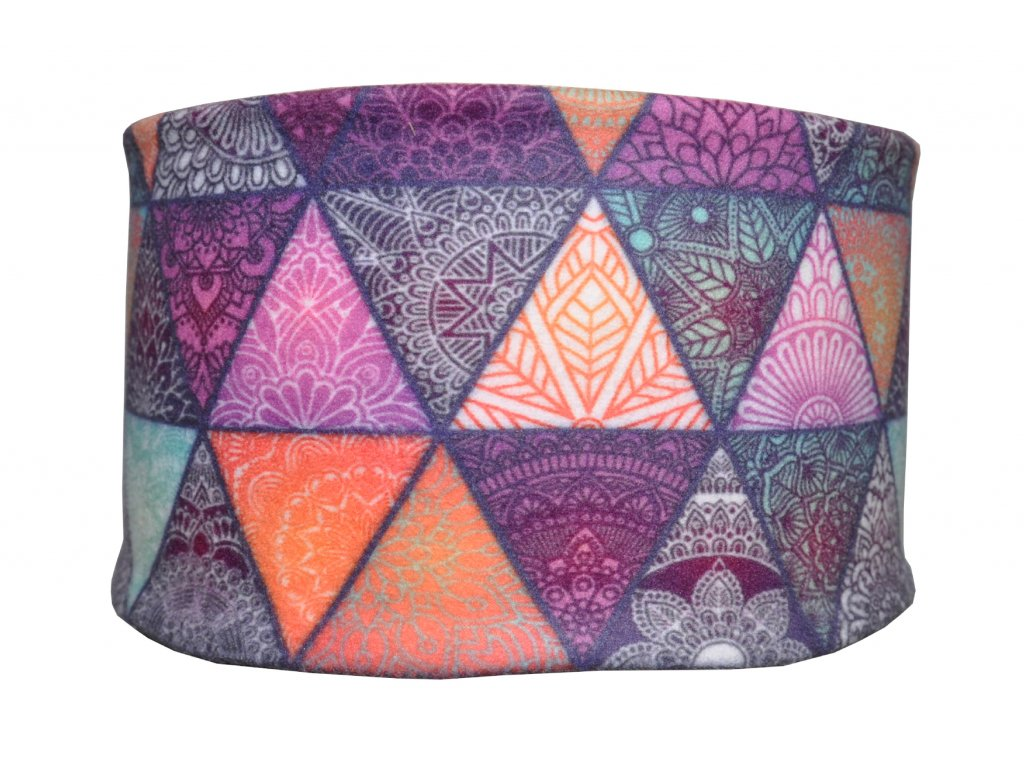 zimní čelenka anywhere mandalove trojuhelniky fialová