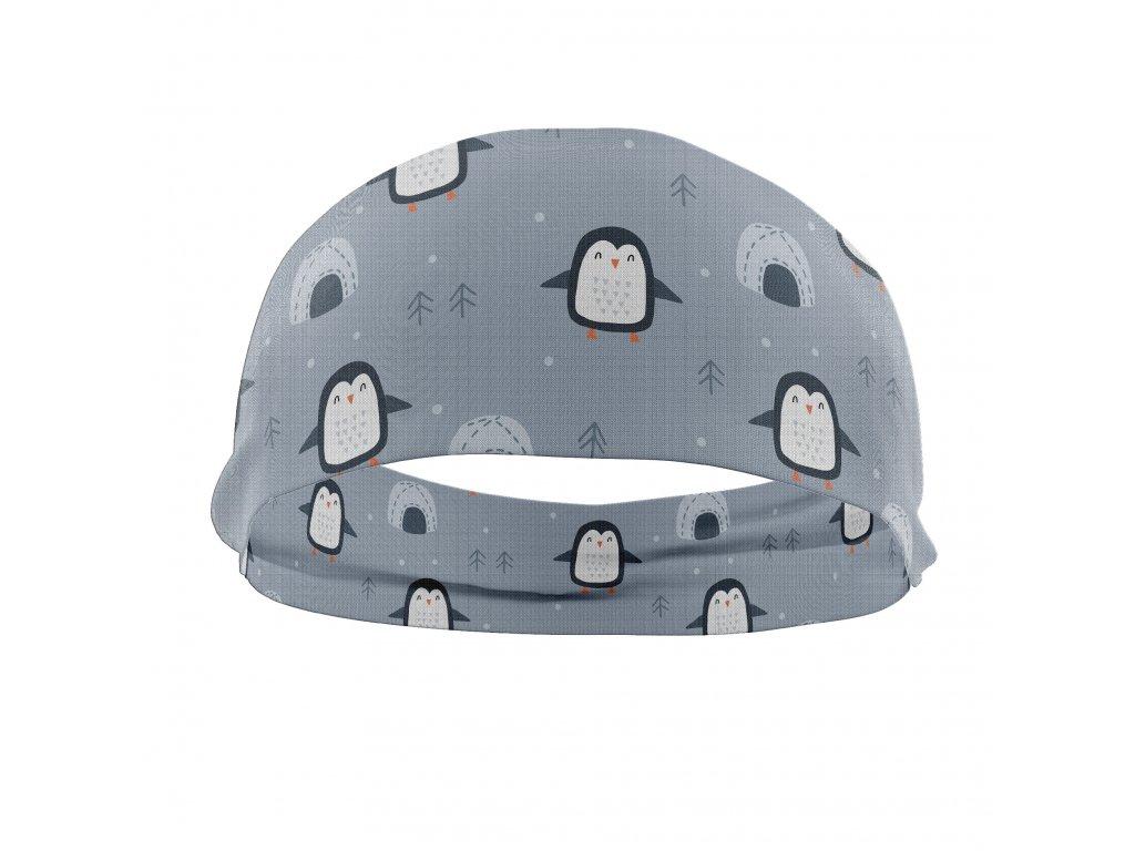 bavlněná čelenka anywhere tučnáci šedá