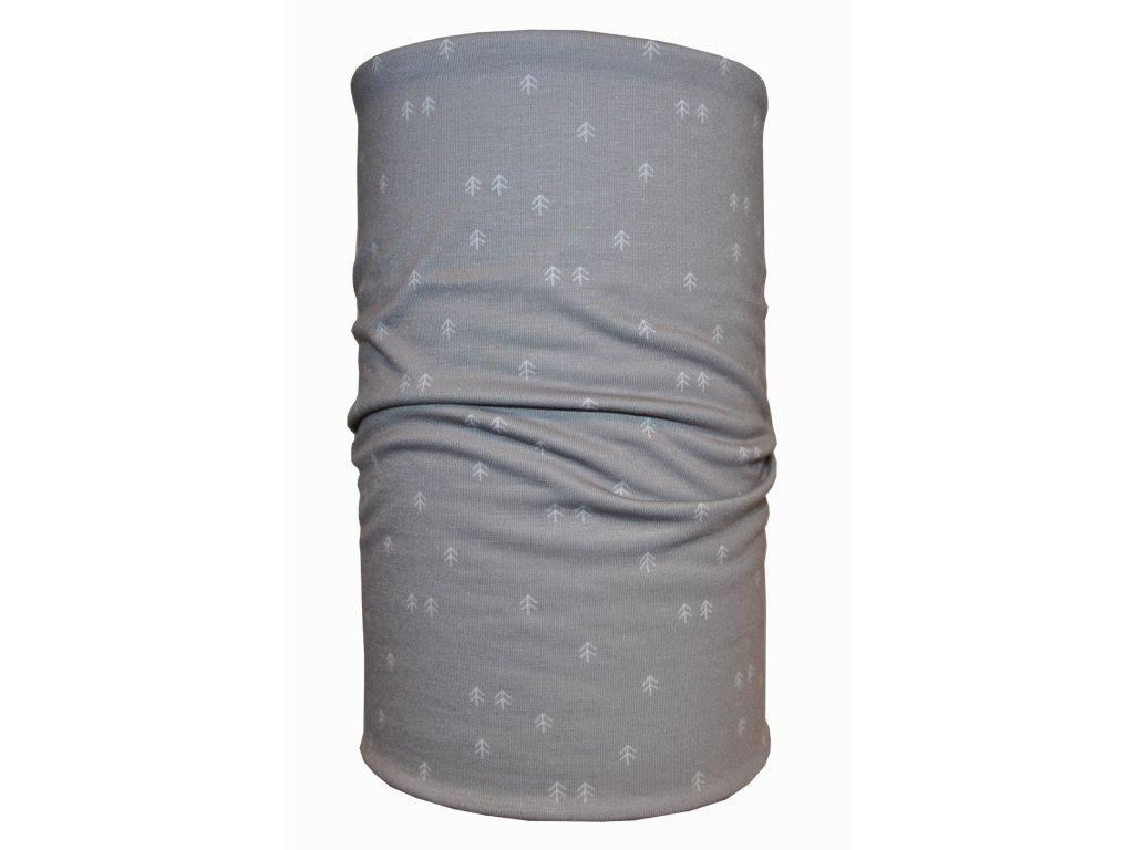 bavlněný nákrčník jemné stromy šedá