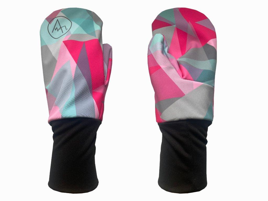 rukavice anywhere růžová tyrkys