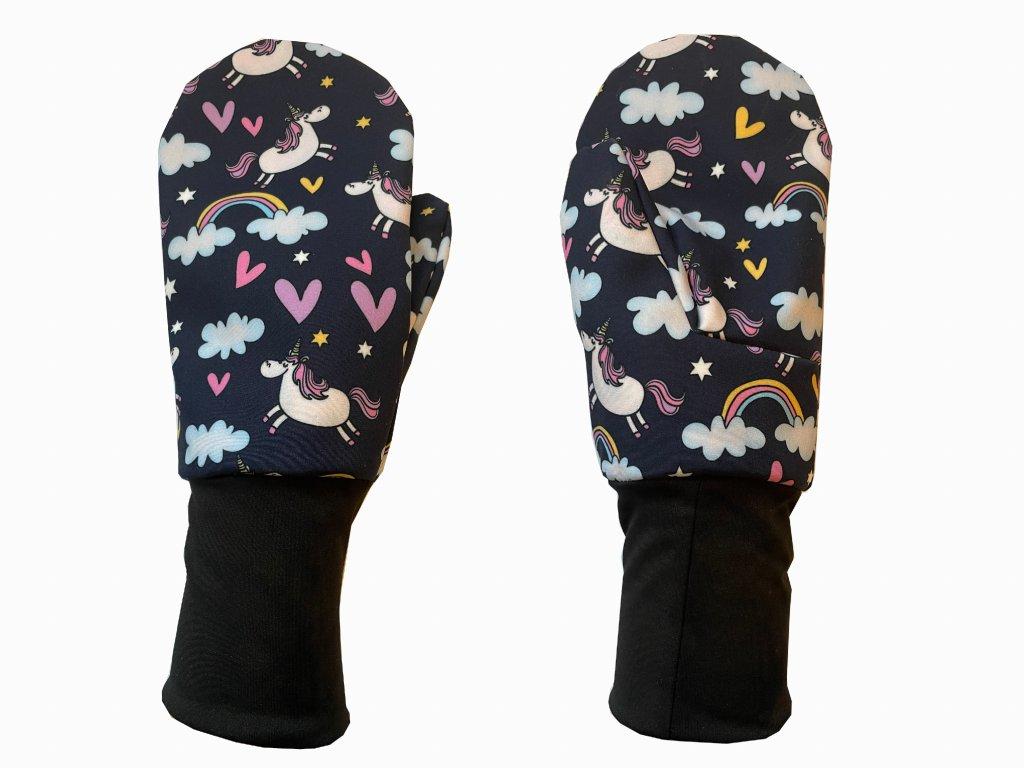 rukavice anywhere jednorožci modrofialová