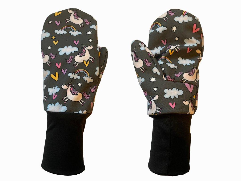 rukavice anywhere jednorožci šedá