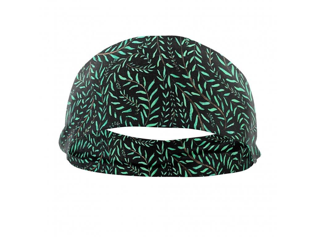 bavlněná čelenka anywhere zelené lístky
