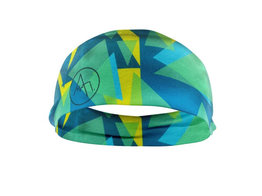 bavlněná čelenka anywhere zelená modrá