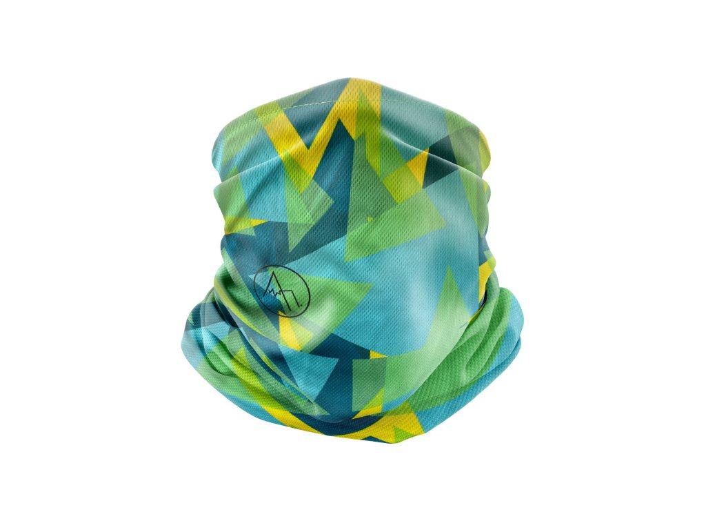 běžecký nákrčník anywhere geometric modrá zelená