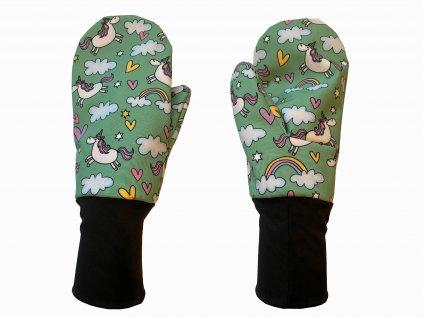 rukavice anywhere jednorožci zelená