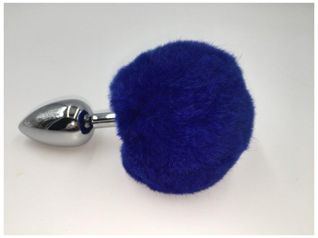 Anální kolík ocelový střední s modrým králičím ocasem