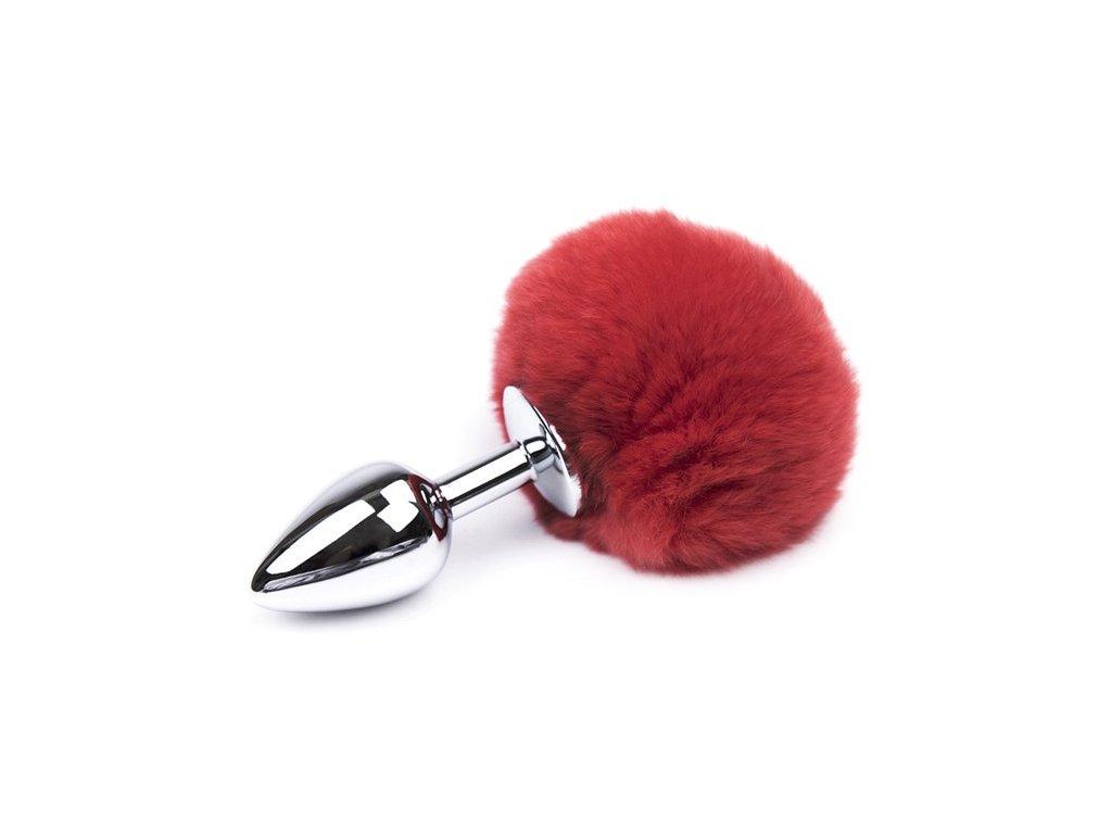Anální kolík ocelový malý s červeným králičím ocasem