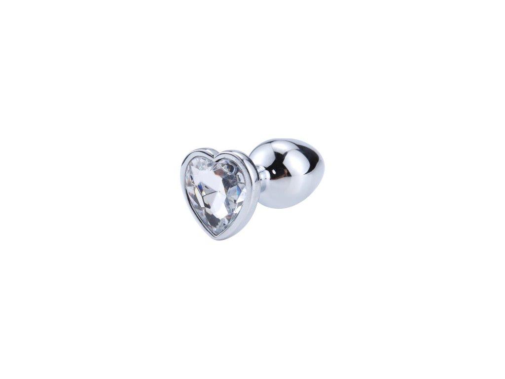 Anální šperk ocelový s bílým krystalem srdce