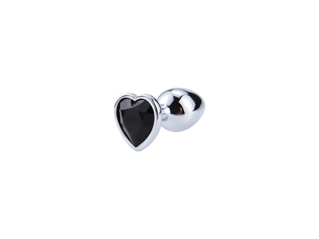 Anální šperk ocelový s černým krystalem srdce