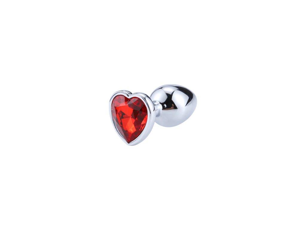 Anální šperk ocelový s červeným krystalem srdce