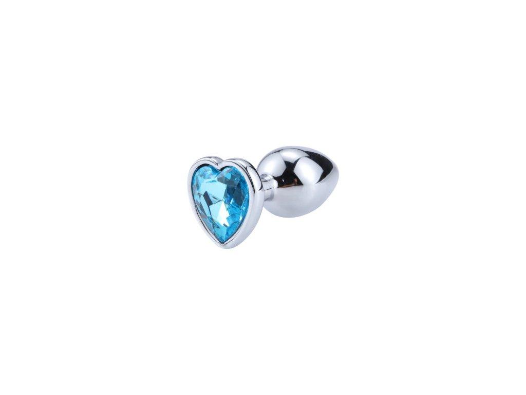 Anální šperk ocelový s modrým krystalem srdce