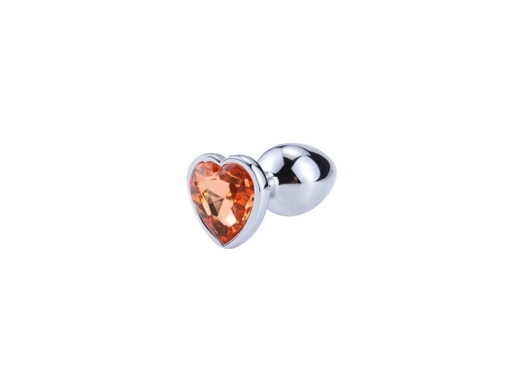 Anální šperk ocelový s oranžovým krystalem srdce