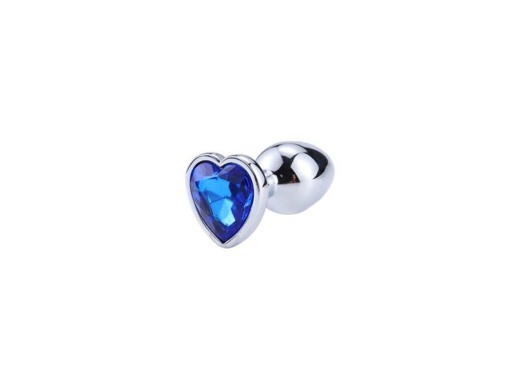 Anální šperk ocelový s tmavě modrým krystalem srdce