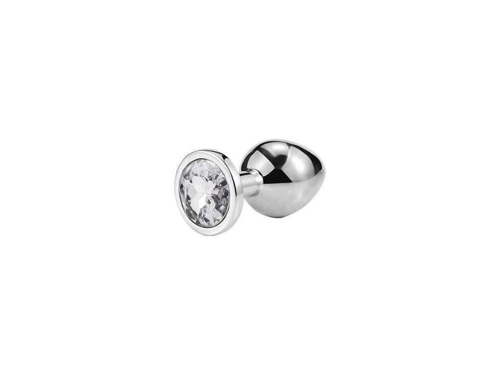 Anální šperk ocelový s bílým krystalem kruh
