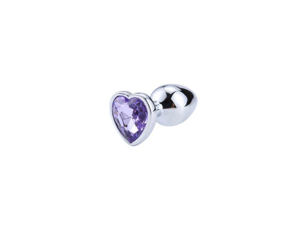 Anální šperk ocelový s fialovým krystalem srdce