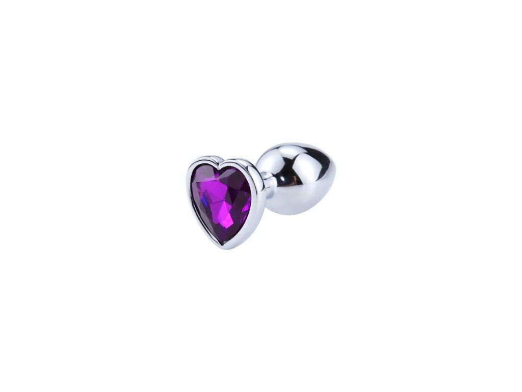 Anální šperk ocelový s tmavě fialovým krystalem srdce