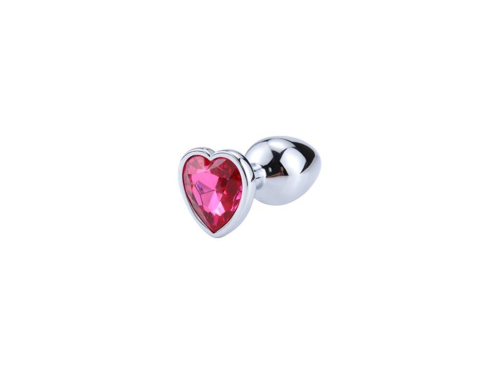 Anální šperk ocelový s tmavě růžovým krystalem srdce