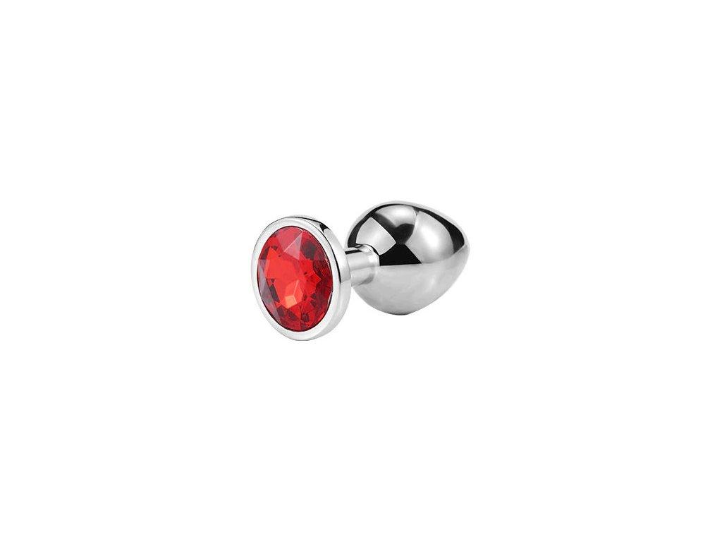 Anální šperk ocelový s červeným krystalem kruh