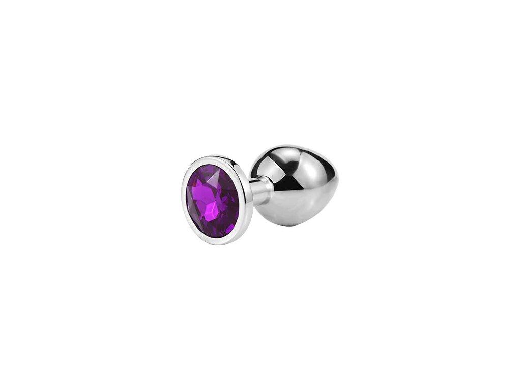 Anální šperk ocelový s tmavě fialovým krystalem kruh