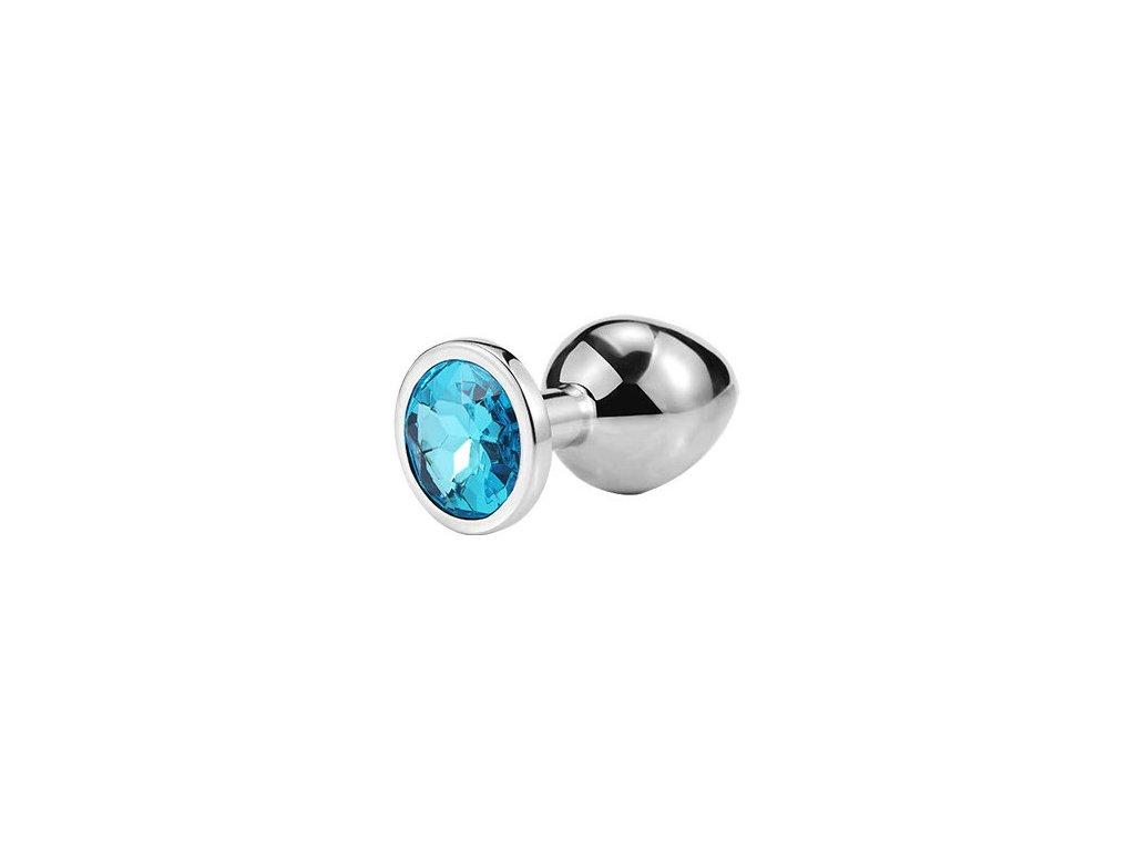 Anální šperk ocelový s modrým krystalem kruh