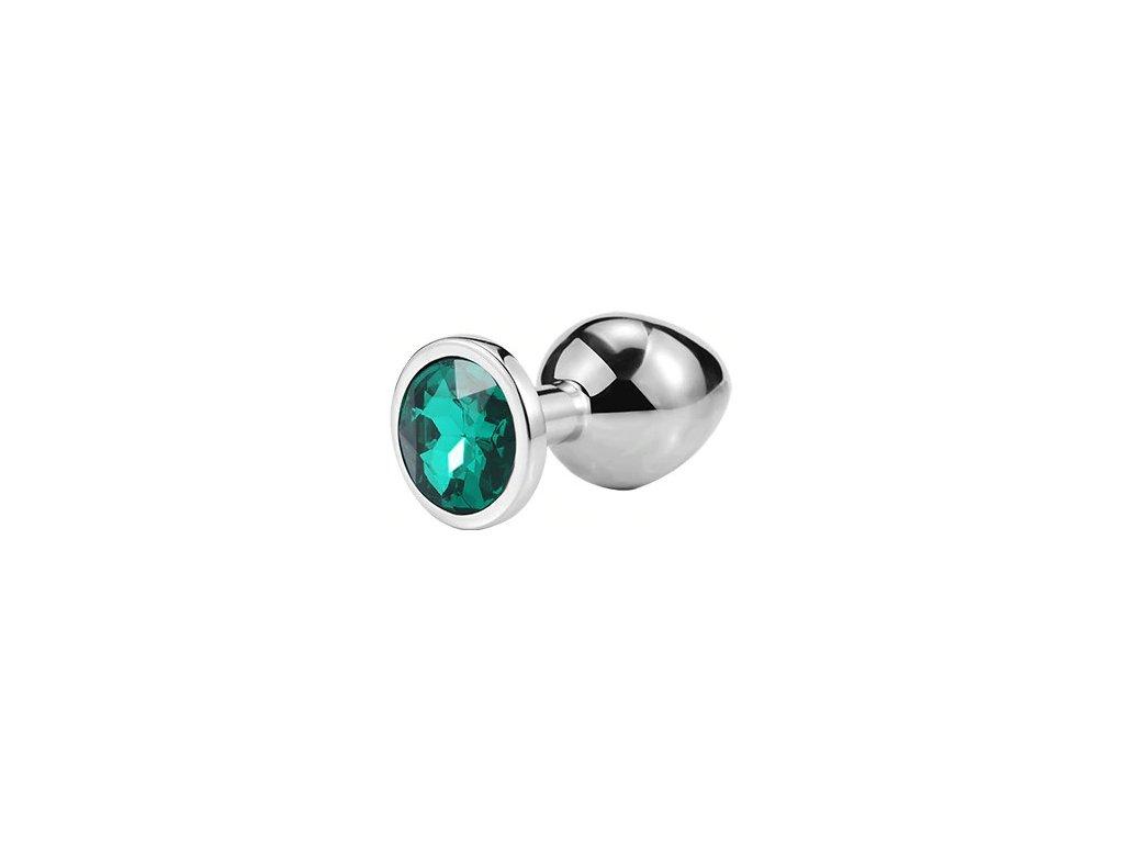 Anální šperk ocelový s tmavě zeleným krystalem kruh