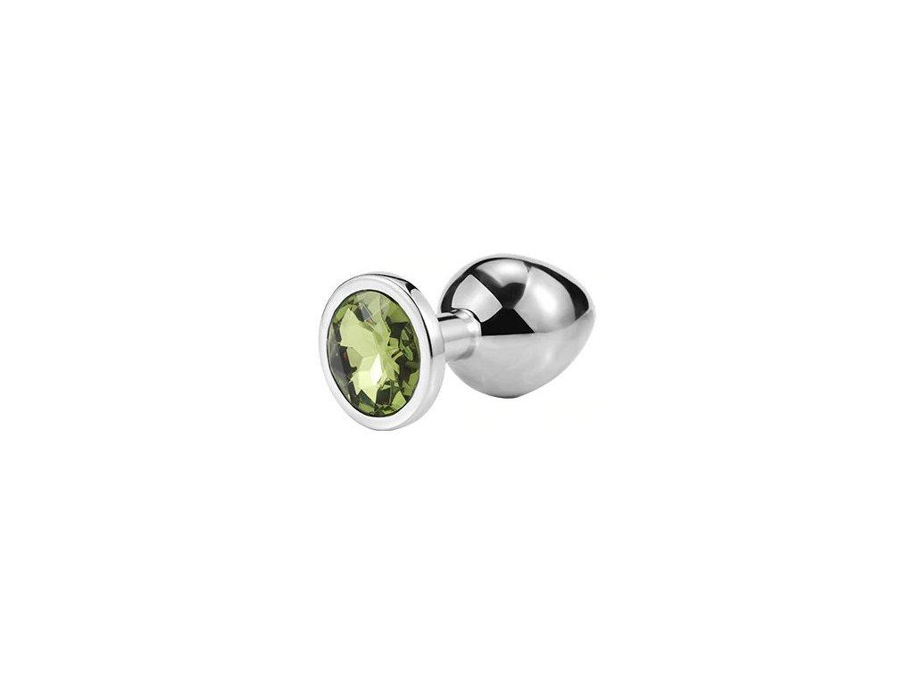 Anální šperk ocelový se zeleným krystalem kruh