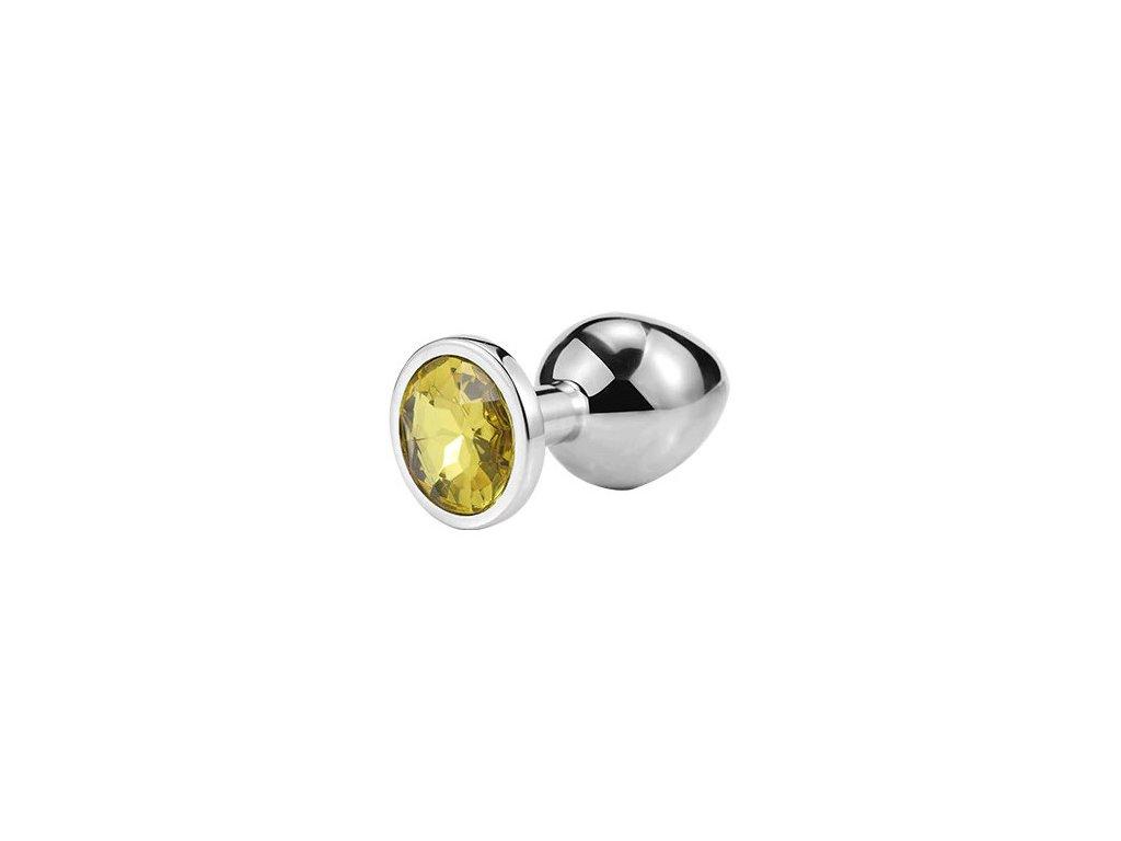 Anální šperk ocelový se žlutým krystalem kruh