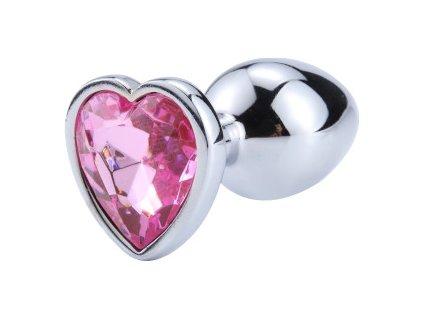Anální šperk ocelový s růžovým krystalem srdce