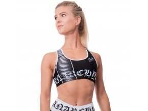 Monochrome bra, dámská fitness podprsenka, pevný lem, vysoká podpora, černá/bílá