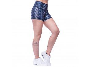 Carbonite, dámské fitness kraťasy, šortky, vysoký pas, modrá/šedá