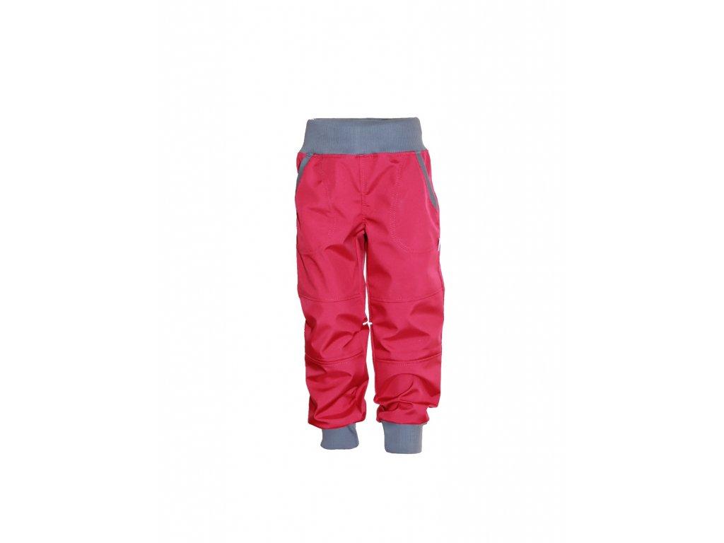 Dětské softschellové kalhoty s fleecem růžové