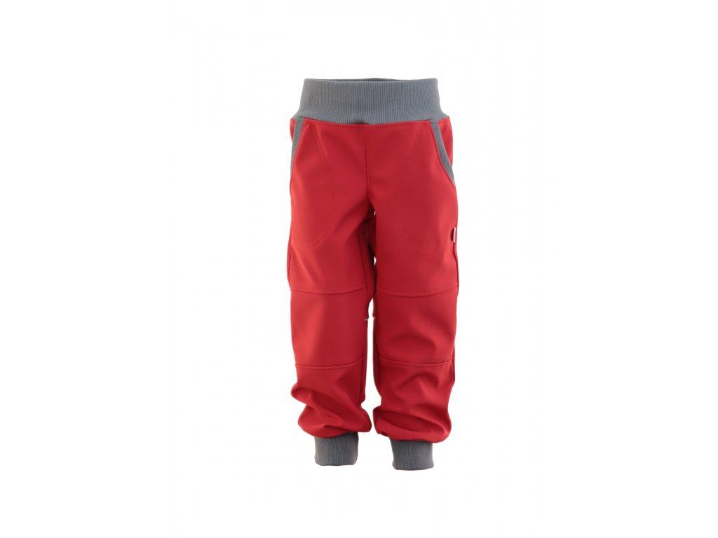Dětské softschellové kalhoty bez fleece červené