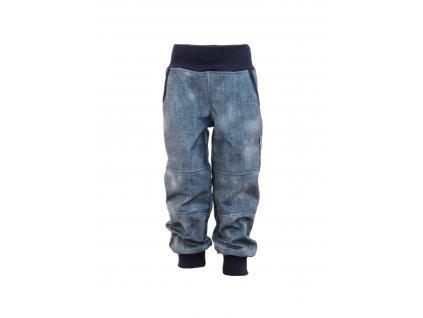 Dětské softschellové kalhoty s fleecem riflové
