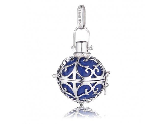 Stříbrný andělský zvonek modrý