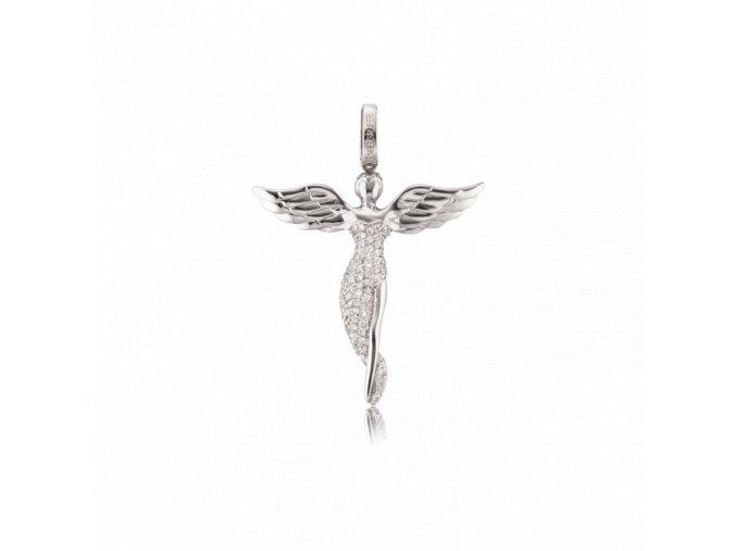 Stříbrný přívěšek ANDĚL se zirkony (malý)