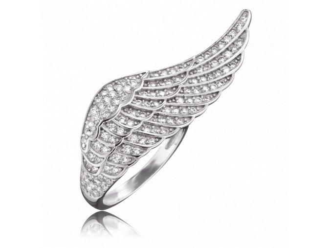 Andělský prsten s křídlem a zirkony
