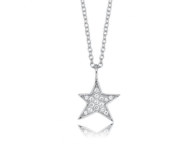 Stříbrný náhrdelník HVĚZDA se zirkony
